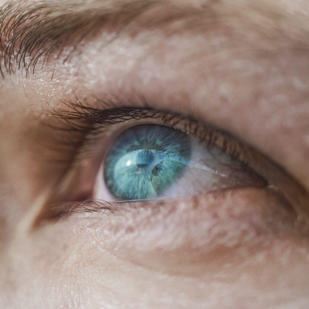 Human blue eye macro shot